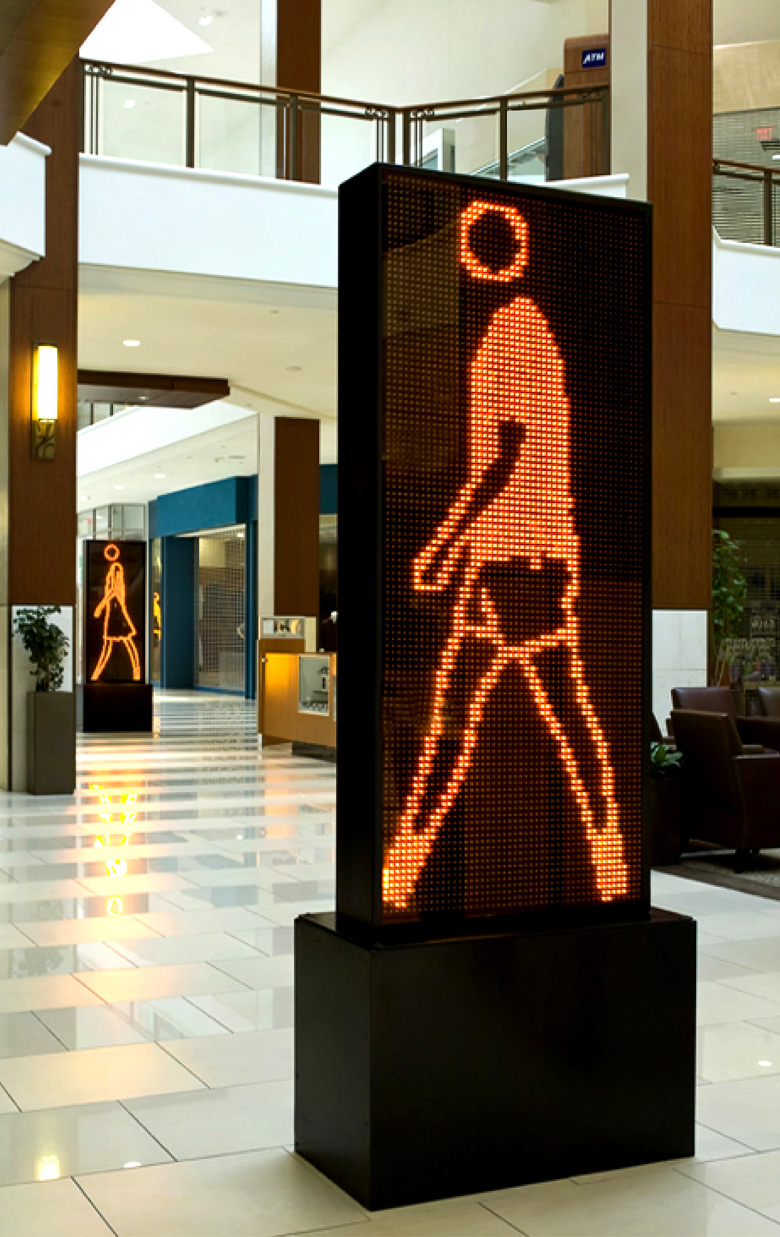 Walking Portraits by Julian Opie at Aventura Mall in Miami