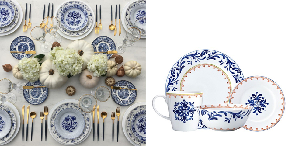 Photo by @fancy_tables; Dansk Nothern Indigo Dinnerware at Bloomingdale's, $18-$50
