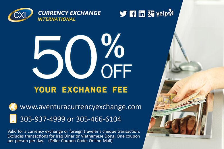 Currency Exchange at Aventura Mall in Miami