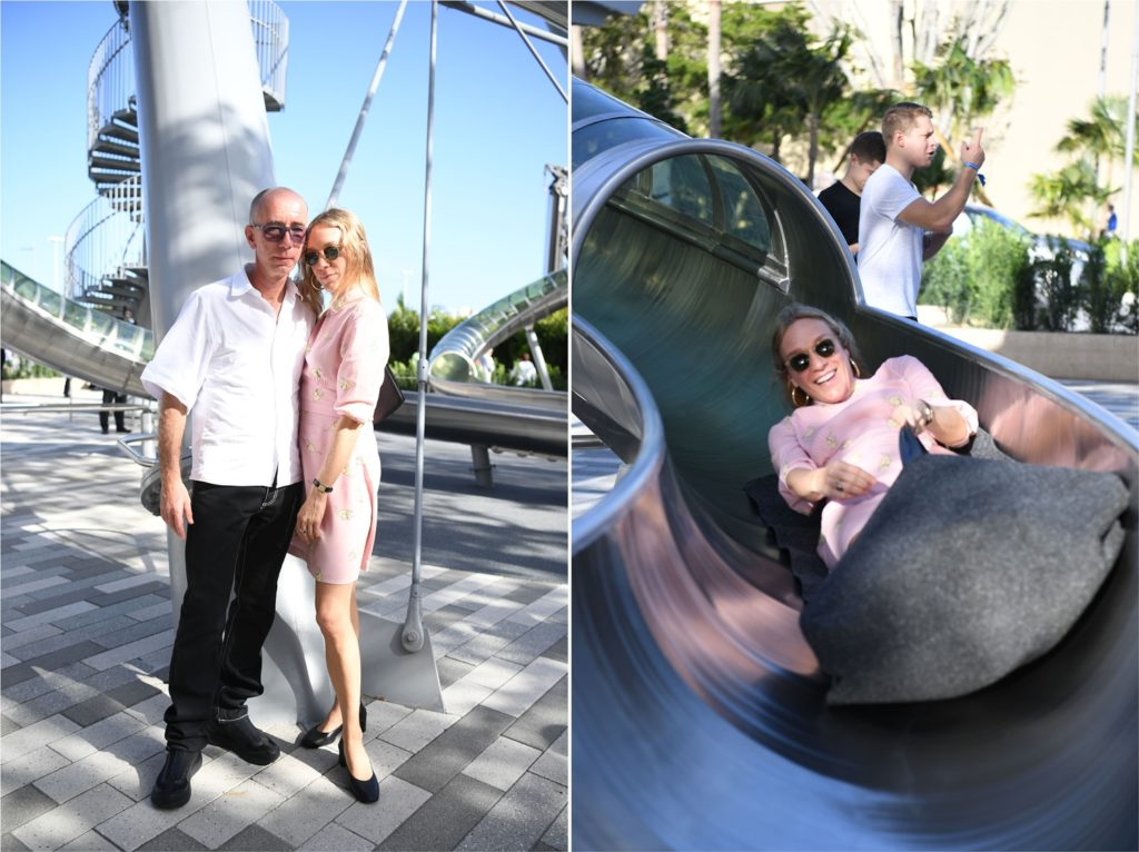 Carsten Höller and Chloë Stevens Sevigny; Sevigny descending the Slide Tower